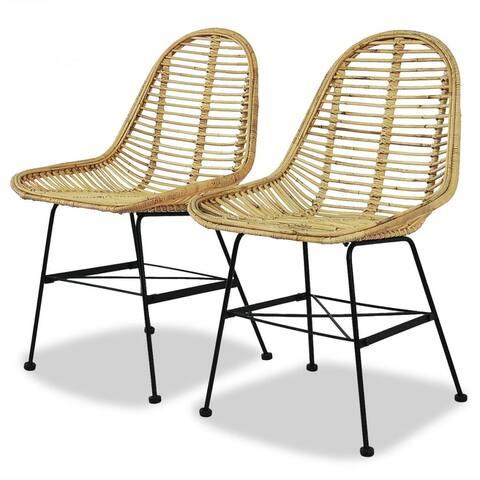 vidaXL Dining Chairs 2 pcs Natural Rattan