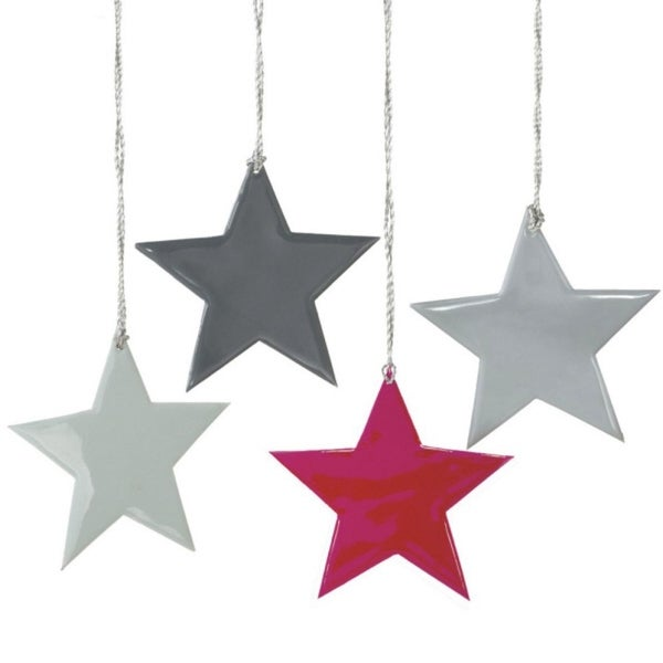 Set of 4 Small Whimsical Multi-Colored Star Silhouette Christmas Ornaments 4""