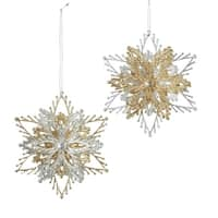 "Club Pack of 24 Silver and Gold Glittering Burst Christmas Ornaments 4"" - multi"