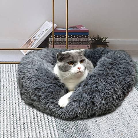 Pet Dog Cat Calming Bed Warm Soft Plush Mat Round Navy - Medium