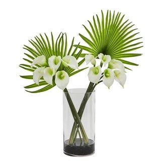 Calla Lily and Fan Palm Artificial Arrangement in Cylinder Glass