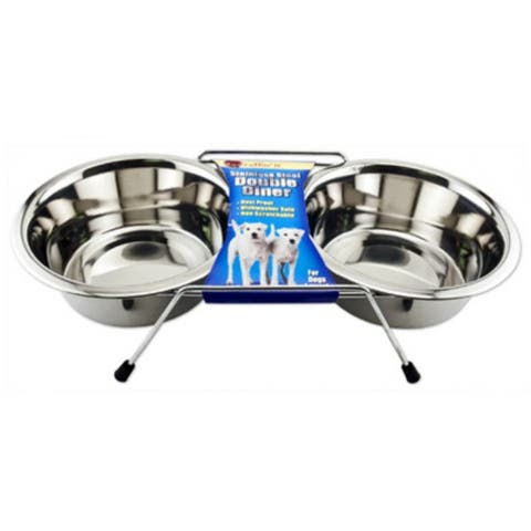 Ruffin' It 19432 Stainless Steel Double Diner Raised Pet Bowls, 1 Qt