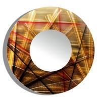 Statements2000 Gold/Red/Brown Metal Wall Mirror Art by Jon Allen - Mirror 110 - Brown