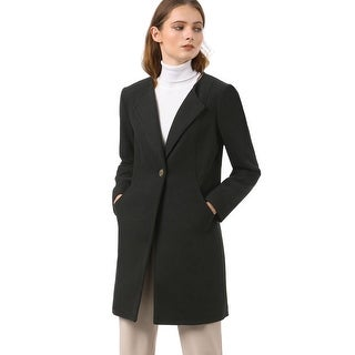 Women's Button Closure Outerwear Winter Coat Black