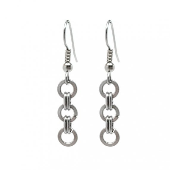 Loralyn Designs Stainless Steel Circle Dangle Earrings for Women Simple Chainmaille