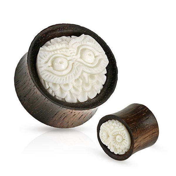 Owl Head Hand Carved Buffalo Bone Inlay Organic Wood Saddle Fit Plug (Sold Individually)