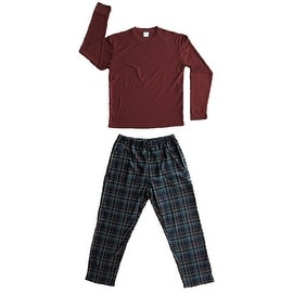 Men's 2 PC Thermal Top & Fleece Lined Pants Pajamas Set (Dark Red)