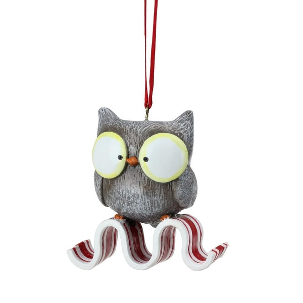 """2.5"""" Peppermint Twist Decorative Owl on Ribbon Candy Christmas Ornament - RED"""