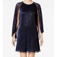 Calvin Klein Blue Womens Size 4 Shimmer Capelet Sheath Dress