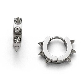 Chisel Stainless Steel Polished Spikes Hoop Earrings