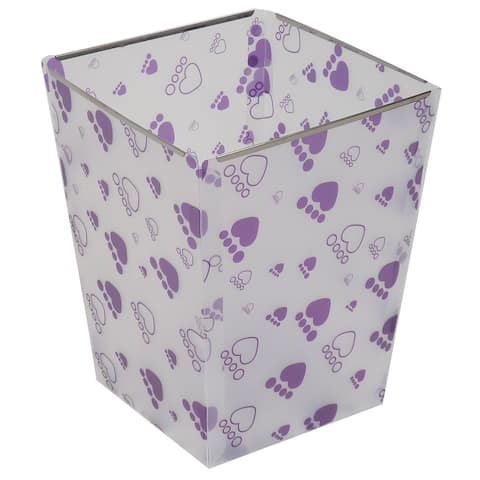 Unique Bargains Foldable Paper Waste Bin Bucket Garbage DIY Can Container Clear White Purple
