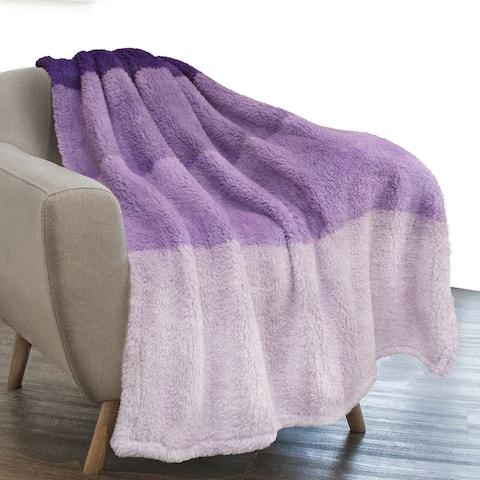 Sherpa Fleece Ombre Throw Blanket Purple