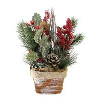 """10.75"""" Red Berries, Frosted Pine Needles and Twigs Artificial Christmas Arrangement - Brown"""