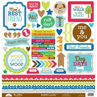 """Puppy Love Cardstock Stickers 12""""X12""""-This & That"""