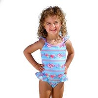 Sun Emporium Baby Girls Sky Blue Pink Cross Over Back Ties Swimsuit