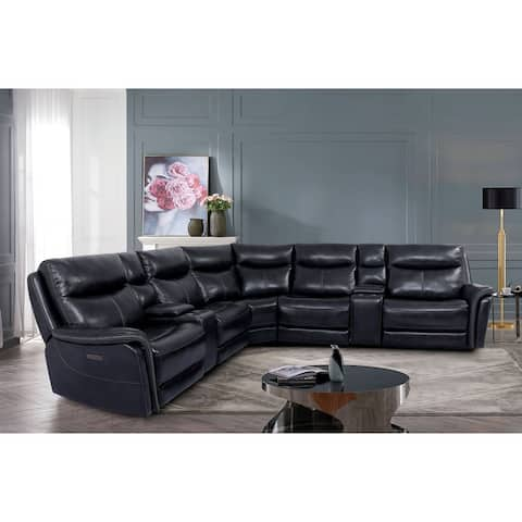 Furniture of America Bowling Contemporary Dark Navy Leather Sectional