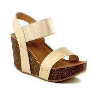 c6b1c5fa22a2 Shop Adult Silver Peep Toe Buckle Ankle Strap Wedge Half-21 Sandals ...