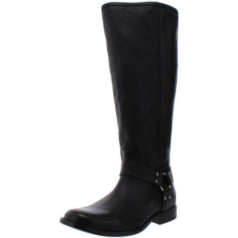 Frye Womens Phillip Harness Riding Boots Leather Knee-High - Black - 11 Medium (B,M)