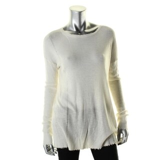 Helmut Lang Womens Sweater Wool Frayed Hem