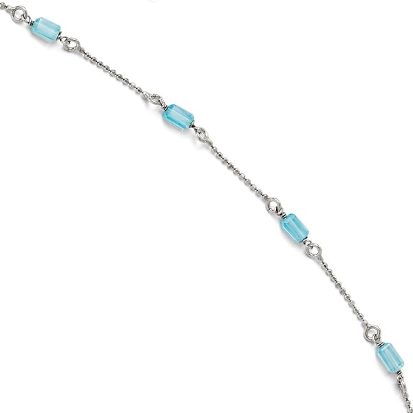 Sterling Silver Blue CZ Anklet Adjustable - 9 inches