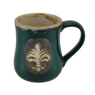 Glossy Fleur De Lis Stoneware Coffee Mug