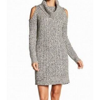 RDI Gray WomenSize XL Cowl Neck Marled Cold-Shoulder Sweater Dress