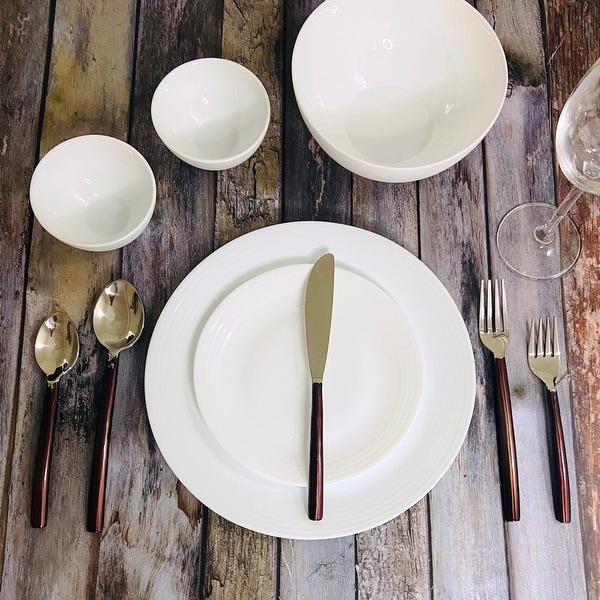 "INOX Cinnamon Bronze Melrose 20 Pc. Flatware Set (Serves 4) - 9"" Dinner nife, 8.25"" Dinner Fork, 8"" Dinner Spoon. Opens flyout."