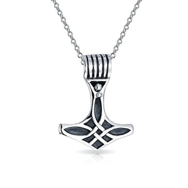 Shop Celtic Thors Hammer Viking Knot Pendant Necklace 925 Sterling Silver On Sale Overstock 18184353