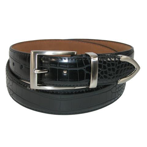 PGA TOUR Men's Croco Print 3 Piece Leather Belt