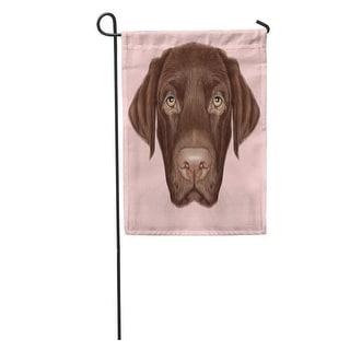 Brown Black Labrador Retriever Dog Portrait Of Chocolate On Pink Drawing Lab Garden Flag Decorative Flag House Banner