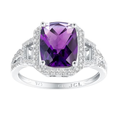 Cushion Checkerboard Halo Gemstone Engagement Ring, Sterling Silver
