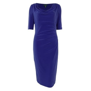 Ralph Lauren Cowl Neck Half Sleeves Pleated Jersey Dress