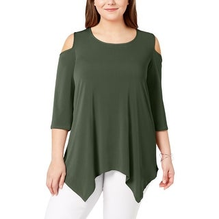 NY Collection Womens Plus Tunic Top Cold Shoulder Pullover