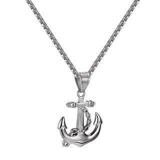 Ship Anchor Design Pendant Stainless Steel Simulated Diamonds Necklace Set