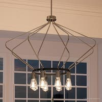 "Luxury Mid-Century Modern Chandelier, 24.875""H x 40""W, with Industrial Chic Style, Brushed Nickel Finish by Urban Ambiance"
