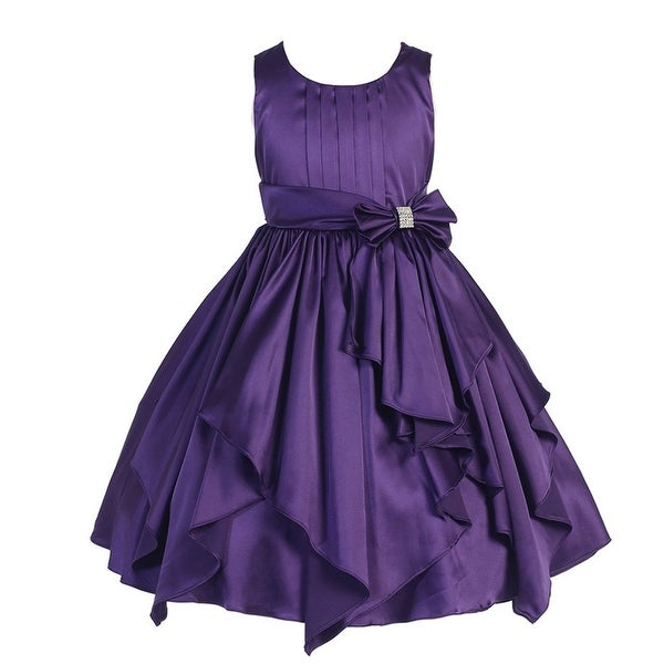 Shop Good Girl Girls Purple Charmeuse Pleated Junior Bridesmaid