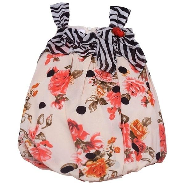 Bonnie Jean Baby Girls Coral Rose Black Dot Stripe Print Bodysuit Dress 0-24M