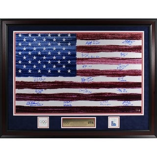 1980 USA Hockey Team American Flag Elite Framed 20X32 Photo w Inscriptions LE80 Frame Is 26x36