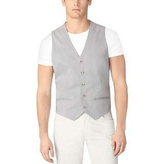 Calvin Klein CK Vest X-Large Monument Gray Plaid Regular Fit Buttoned