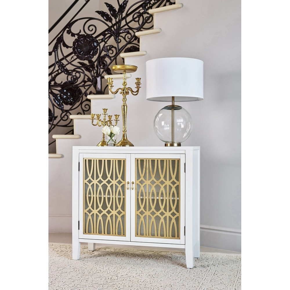 Silver Orchid  Lindkvist White/Gold 2-door Accent Cabinet (Gold)
