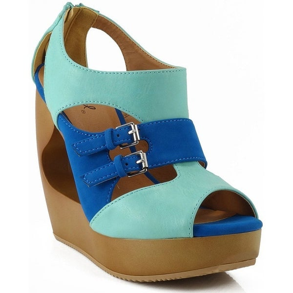 Qupid Lisbeth-09 Open Toe Strappy Wedges - mint suede pu