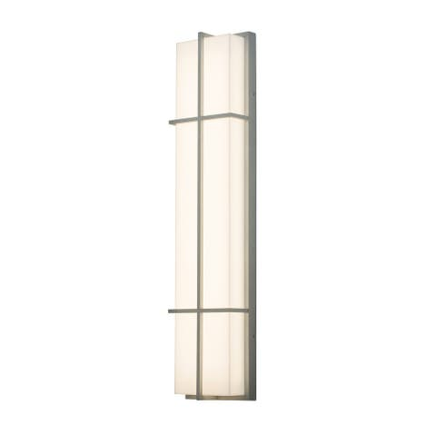 Avenue 1-light Textured Grey LED Outdoor Sconce, White Acrylic Shade