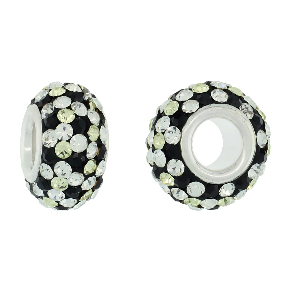 Sterling Silver Crystal Charm Bead White /& Lime Polka dot Color Charm Bracelet Compatible 13 mm