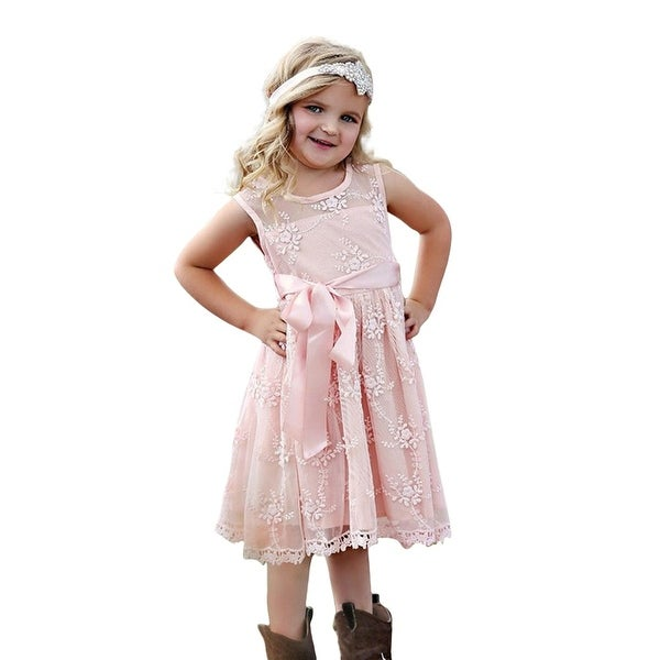 Think Pink Bows Baby Girls Blush Embroidered Lace Lizzie Christmas Dress 6-12M