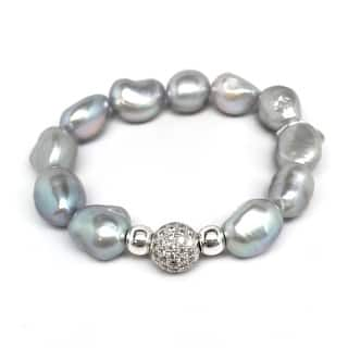 "Grey Baroque Pearl Radiance 7"" Bracelet