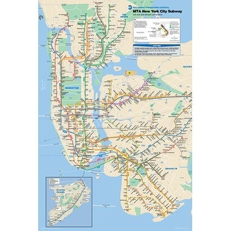 City Subway Map Art.New York City Subway Map By Anon Maps Charts Art Print 36 X 24 In