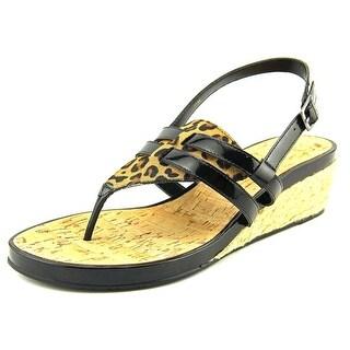Vaneli Kendyl Open Toe Leather Wedge Sandal