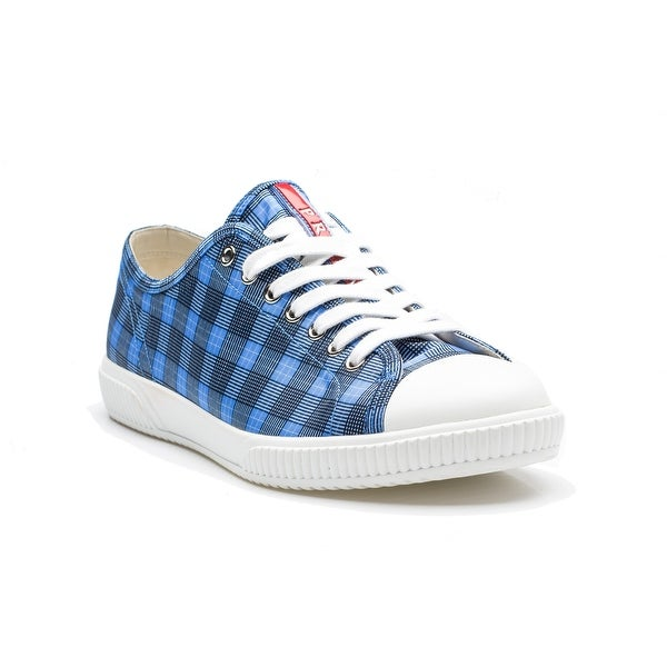 17e06f8fdbe69b Shop Prada Men's Flat Sneaker Shoes Lace Up Nylon Fabric Plaid Blue ...