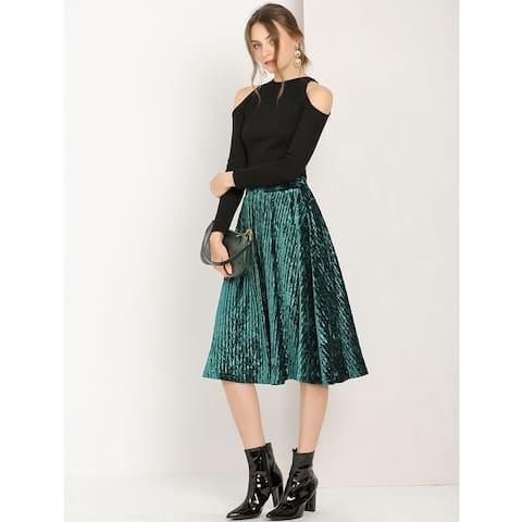 Allegra K Women's Elastic Waist Velvet A-Line Midi Skirt - Green