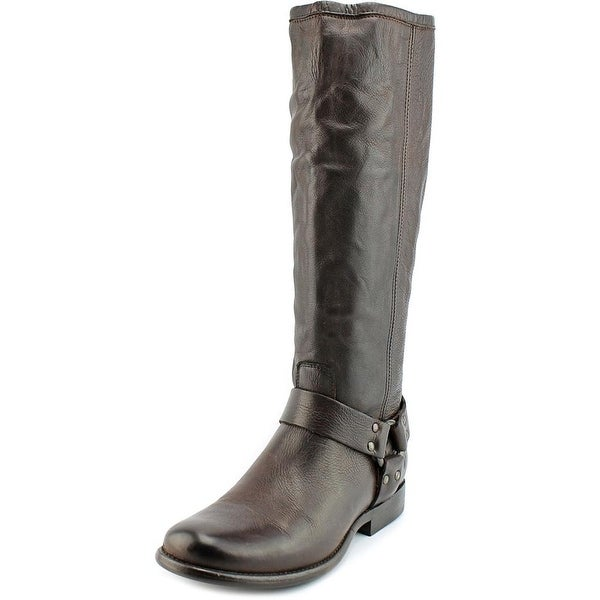 Frye Phillip Harness Tall Women Round Toe Leather Brown Knee High Boot
